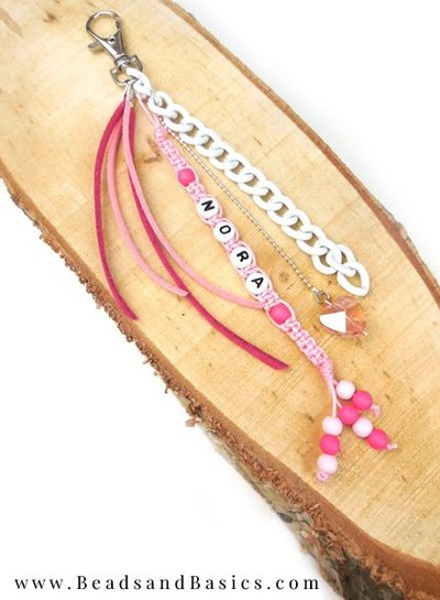 Beautiful Key Making With Letter Beads - Pink With White
