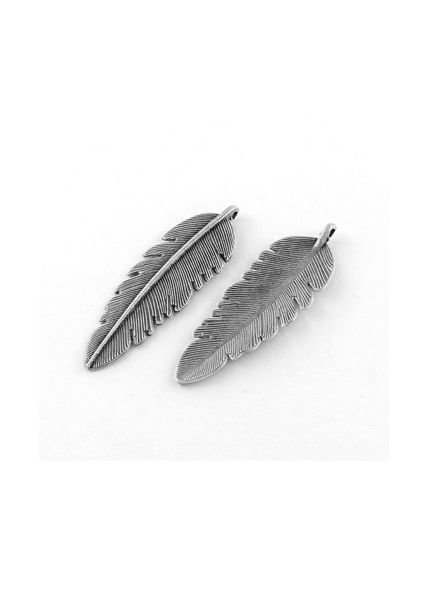 Large Feather Charm Silver 56x18mm