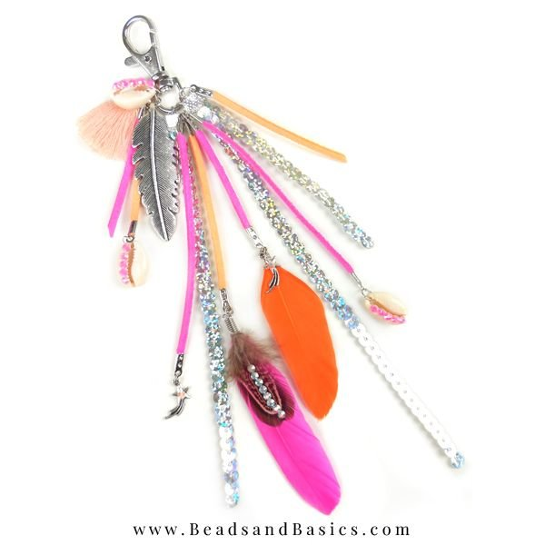 Beautiful Summer Keychain - Pink With Orange