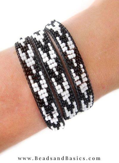 Black White Miyuki Wrap Bracelet