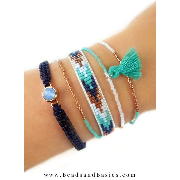 Make Your Own Beautiful Blue Miyuki Bracelets - Blue With Copper