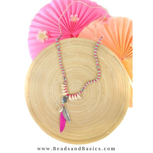 Summer Shells Necklace With Feather