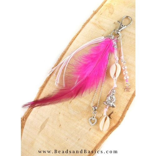 Summer Buddha Keychain With Feather And Shell
