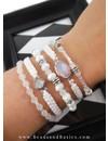 Setje Armbanden Maken Met Wit En Zilveren Kralen