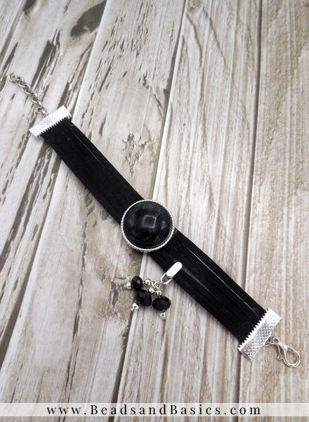 Zelf Een Armband Maken Van Suede Veters Met Schuiver - Zwart