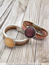 How To Make A Leather Bracelet With Magnetic Closure - Camel