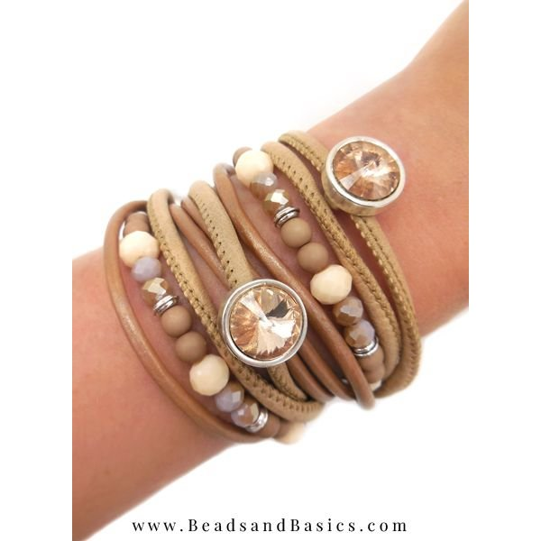 Leather Wrap Bracelet With Skins - Camel