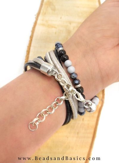 Leather Wrap Bracelet With Skulls - Black With Gray