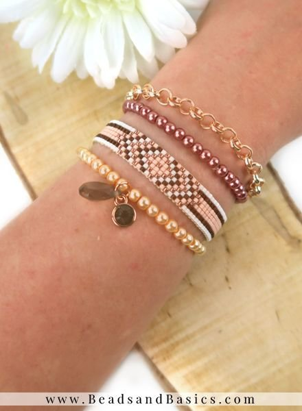 Self A Miyuki Bracelet Make Rosé Gold With Brown