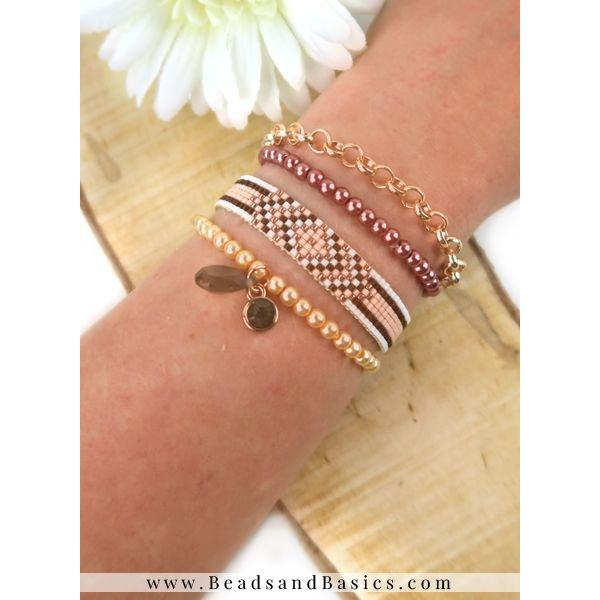 Self A Miyuki Bracelet Make Rosé Gold With Brown