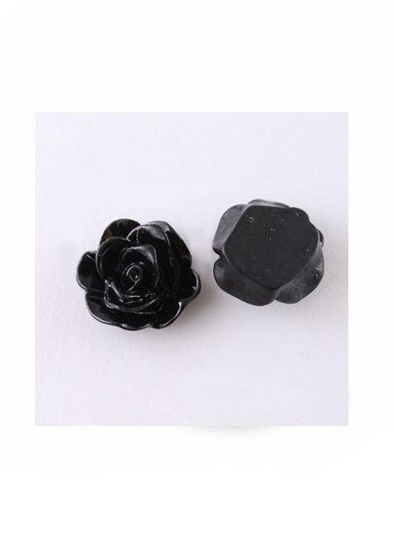 Cabochon Rose Black 13x8mm