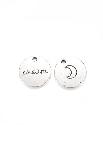 Dream Moon Charm Round Silver 20mm