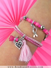 Pink Ribbon Bracelet Set Make Yourself With Charms