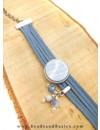 Faux Suede Cord Grey Blue 3mm, 3 meter