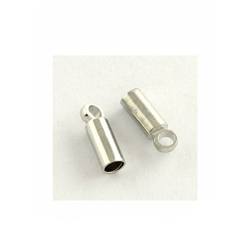 Cord Ends Silver for 3mm Cord Nickel free, 8 pieces