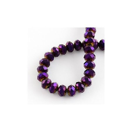 Faceted glass beads Metallic Purple 6x4mm, 25 pieces