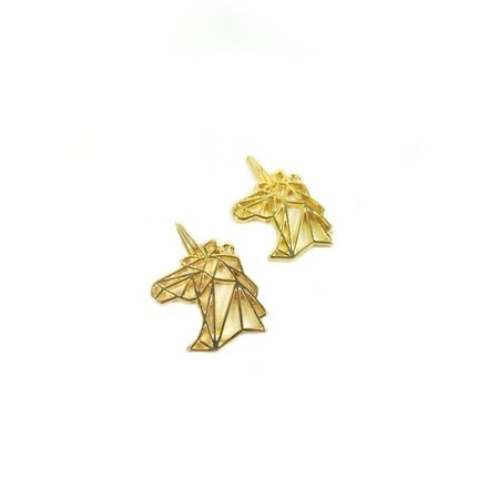 3 pieces Unicorn Charm Gold 29x20mm