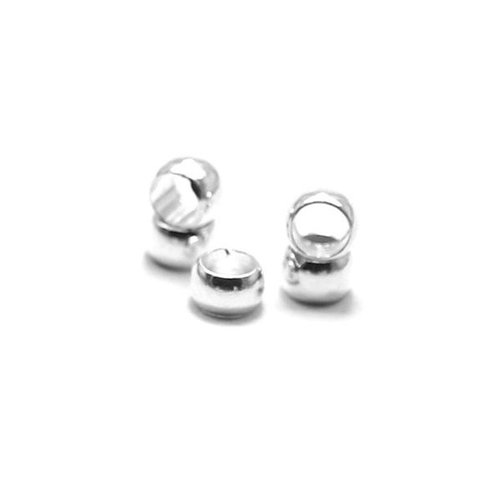 Knijpkralen Zilver 4mm voor 3mm Koord, 10 stuks