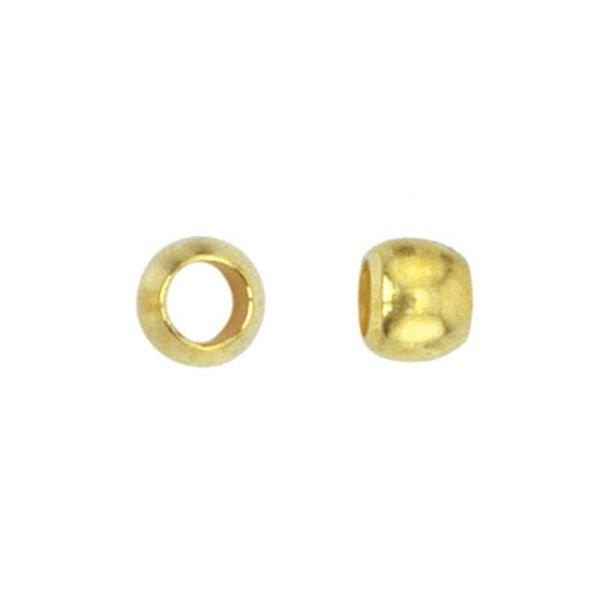 Crimp Beads Gold 3.5mm, hole size 2.2mm, 30 pieces
