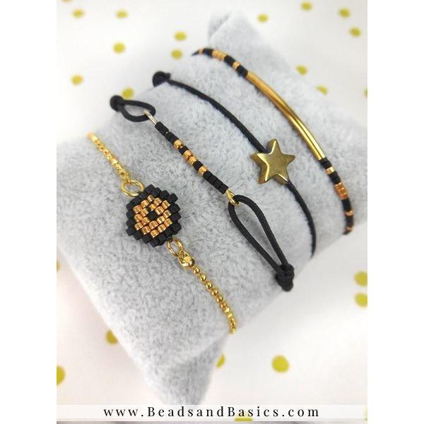 Miyuki Armbandjes Maken Zwart met Goud