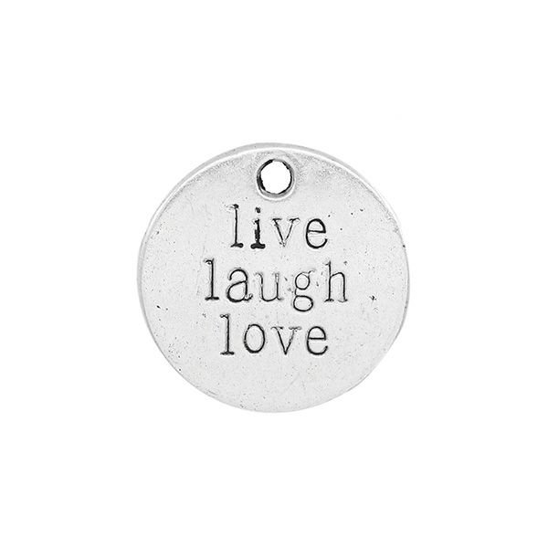 Charm Silver 'Live Laugh Love' 20mm