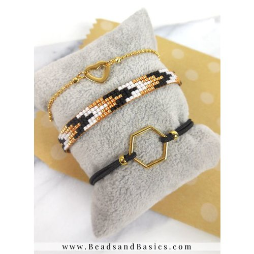 Miyuki Weave Bracelet Made In Gold With Black With Bracelets Of Elastic