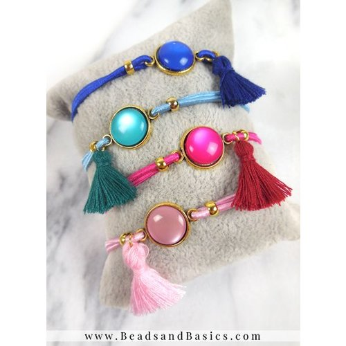 Bracelets With A Slidable Knot - Blue and Pink With Tassels And Cabochon