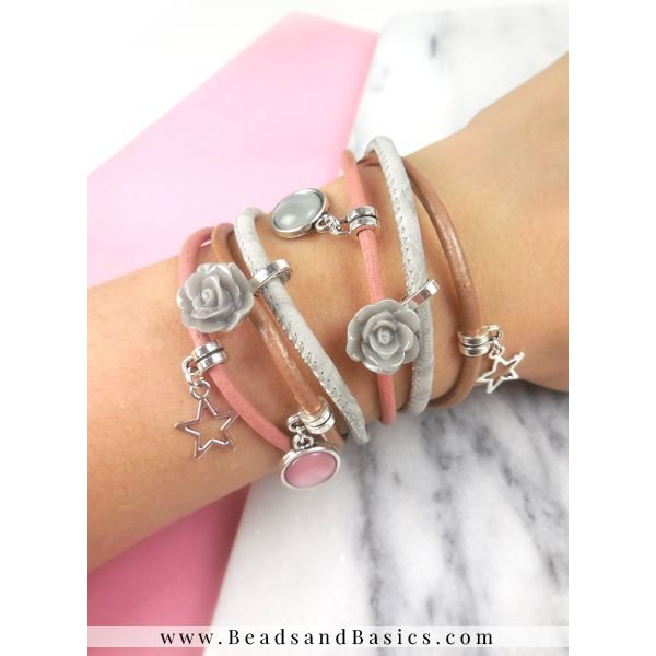 Bracelet Set Of Leather With Rose Cabochons and Charms
