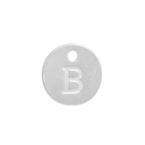 Initial Charm Silver 12mm Letter 'B'