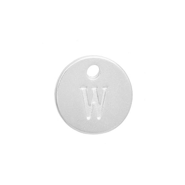 Initial Charm Silver 12mm Letter 'W'