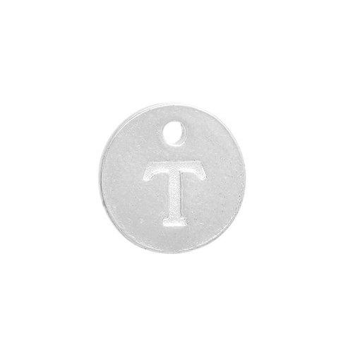 Initial Bedel Zilver 12mm Letter 'T'