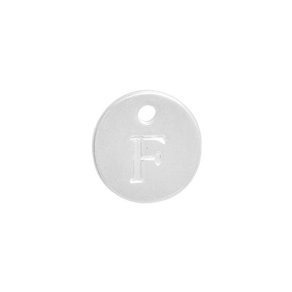 Initial Charm Silver 12mm Letter 'F'