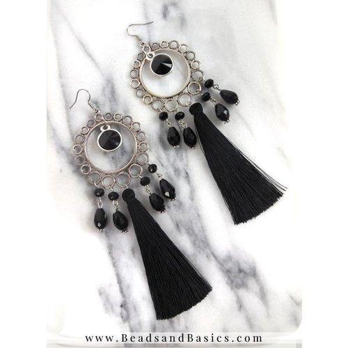 Statement Oorbellen Maken Met Lange kwastjes - Zwart Met Zilver