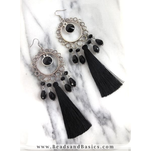 Statement Earrings Making - Black With Silver
