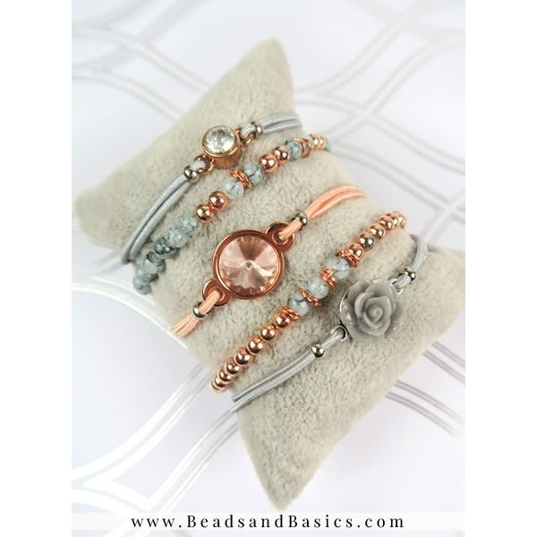 Rosé Gold With Grey Beads Bracelet