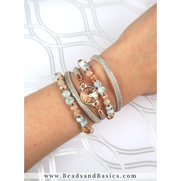 Rosé Goud Met Grijs Armbanden Set Van Leer