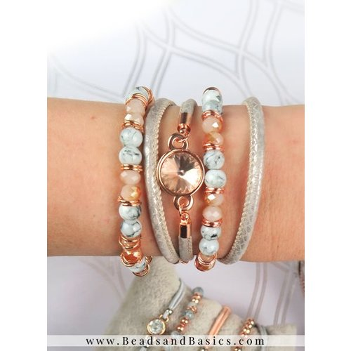 Rosé Gold  With Grey Bracelet Set With Leather