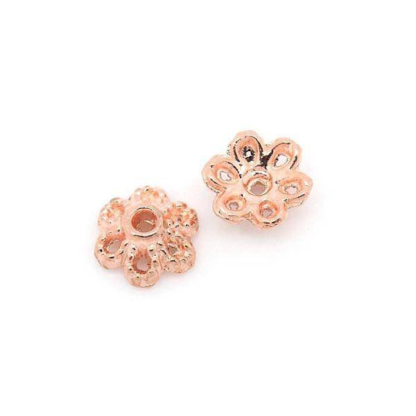 Bead Cap Rose Gold 6mm, 20 pieces