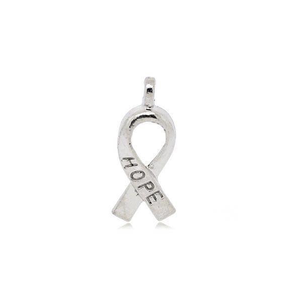 Ribbon Charm Hope Silver 19x8mm