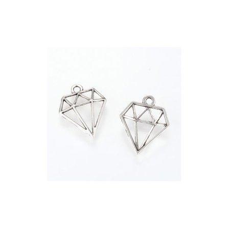 Diamant Bedel Zilver 19x16mm