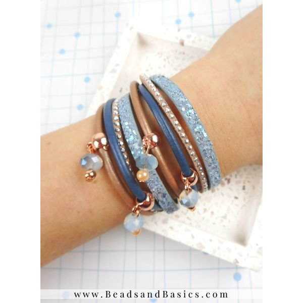 Wrap Bracelet With Charms - Blue With Rose Gold