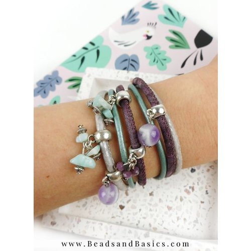 Wrap Bracelet With Charms - Silver With Lilac