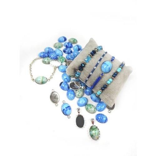 Blauwe Armbandjes Maken met Cabochons