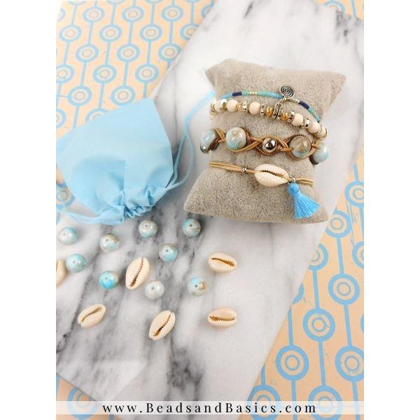 Armband Vlechten Met Waxkoord - Blauw Met Bruin