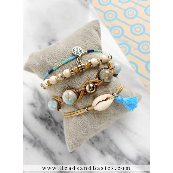 Braided Bracelet With Waxcord - Blue With Brown