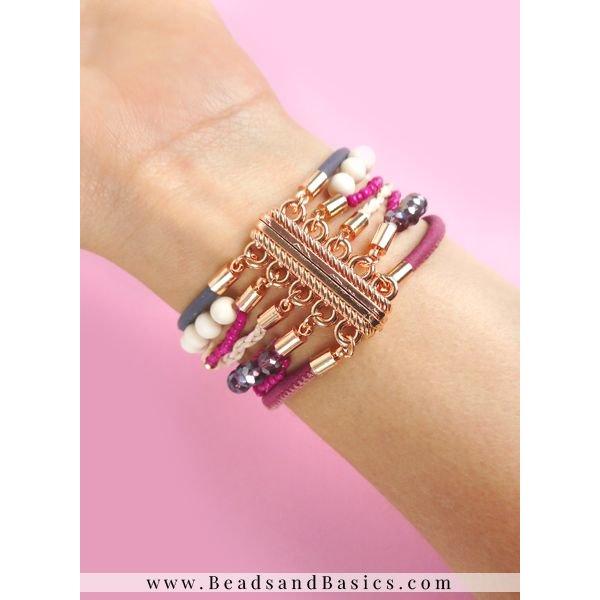 Armband Met Magneetsluiting - Paars Roze