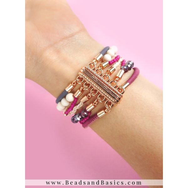 Bracelet With Magnetic Clasp - Pink With Purple