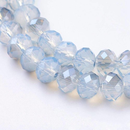 Faceted Beads Grey Blue 6x4mm, 25 pieces