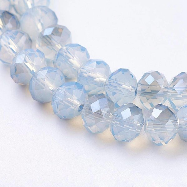 Faceted Glasseads Grey Blue 6x4mm, 25 pieces
