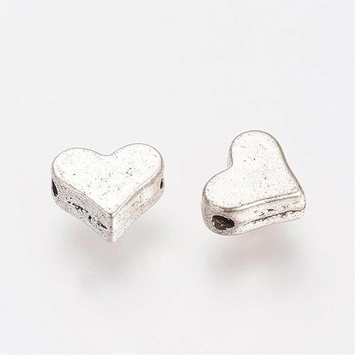 Spacer Bead Silver Heart 6x5mm, 8 pieces